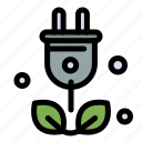 green, plug, science, tree icon