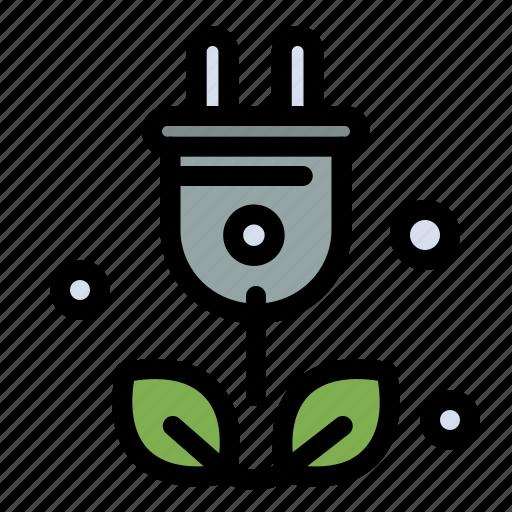 green, plug, science, tree icon