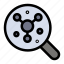 atom, molecule, science, search icon
