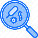 bacterium, chemistry, laboratory, magnifier, microorganism, physics, science icon