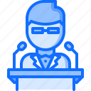 chemistry, conference, laboratory, physics, science, scientist, speaker icon