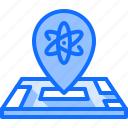 chemistry, institute, laboratory, location, map, physics, science icon
