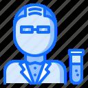 3, chemistry, laboratory, man, physics, science, scientist icon