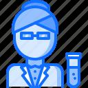 chemistry, laboratory, physics, science, scientist, woman icon