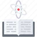 atom, book, chemistry, laboratory, physics, science icon