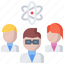 chemistry, laboratory, physics, science, scientist, team icon