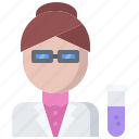 chemistry, laboratory, physics, science, scientist, woman icon