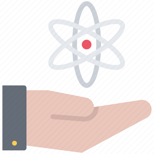 atom, chemistry, hand, laboratory, physics, science, support icon