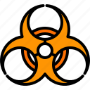 biohazard, danger, dangerous, hazard, risk, signaling, toxic icon