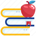 apple, book, education, learning, stack, study, university icon