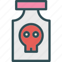 bones, bottle, danger, head, human, meds, skull icon