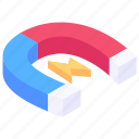 power magnet, horseshoe magnet, magnet, electromagnet, physics magnet icon