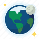 earth, moon, orbit, science icon