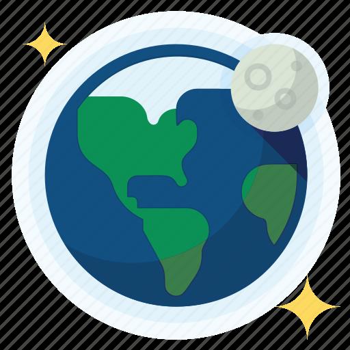 earth, moon, orbit, science icon