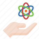 atom, hand, nuclear, science icon