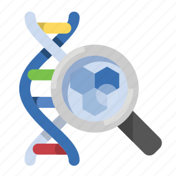 cell, dna, glass, magnifying, science icon