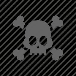 attention, danger, skull, warning icon