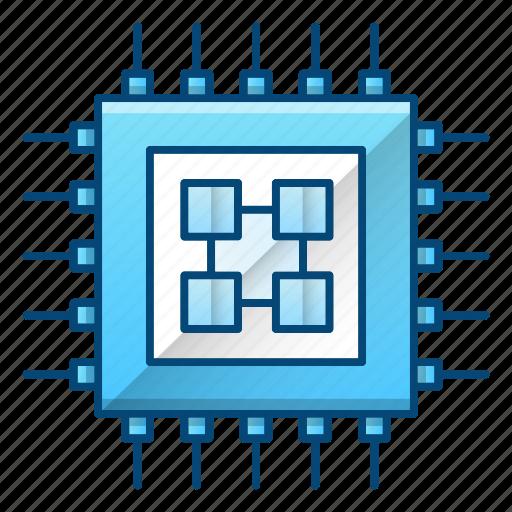 computer, electronics, hardware, processor, science icon