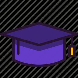 education, graduation, hat, school, science, university icon