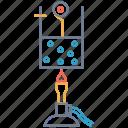 beaker, liquid, fire, heat, atom, lantern, vapour