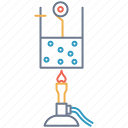 atom, beaker, fire, heat, lantern, liquid, vapour icon
