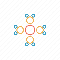 atom, attract, circle, ionize, mole, molecule icon