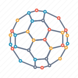 buckyball, carbon, ellipsoid, fullerene, graphite, molecule, tube icon