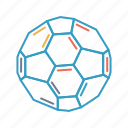 atom, ball, buckyball, fullerene, hexagon, molecule icon