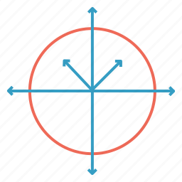 arrow, circle, line, science icon