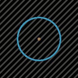 atom, center, centre, mole, radius, shape, target icon