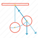 center, circle, law, pendulum, rotate, stand icon
