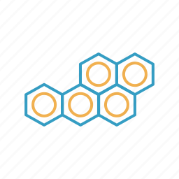 atom, circle, hexagon, mole, polymer, polymor icon