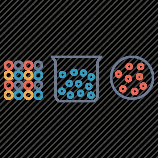 air, atom, beaker, liquid, mole, science, solid icon