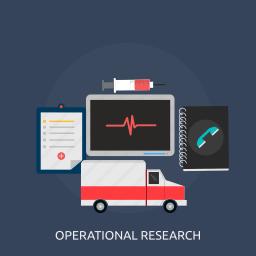ambulance, development, information, management, operation, research, technology icon