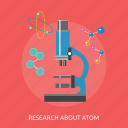 atom, cell, formula, molecule, research, research atom, science icon