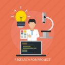 analyze, idea, microscope, person, project, research, work icon