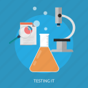 chemistry, experiment, formula, microscope, molecule, research, science icon