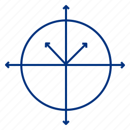 arrow, circle, line, science icon