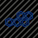 polymer, atom, polymor, circle, hexagon, mole