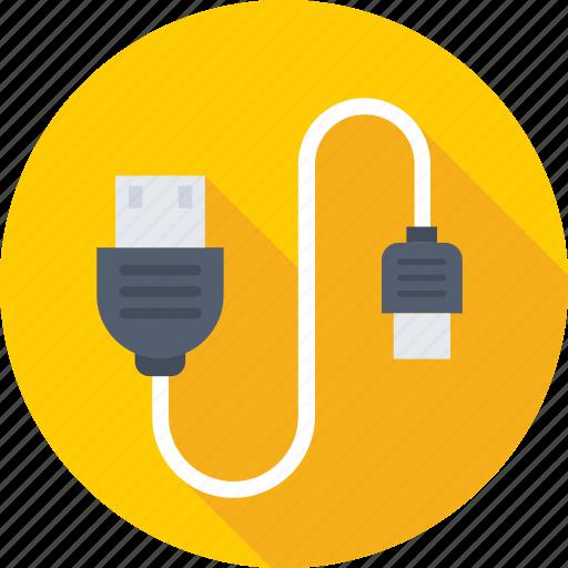 data cable, micro usb, usb cable, usb cord, usb plug icon