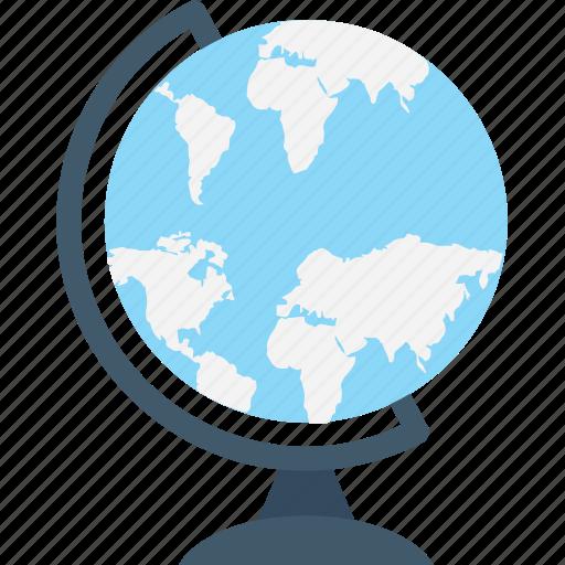 desk globe, education, globe, map, table globe icon