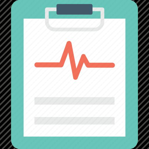 ecg report, electrocardiogram, heartbeat, medical report, prescription icon