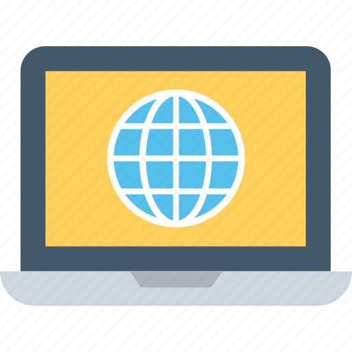 globe, internet, internet connection, laptop, network icon