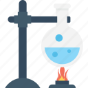 experiment, flask, lab research, laboratory, spirit lamp