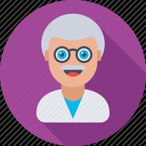 avatar, man, person, professor, scientist icon