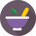 kitchen utensil, medicine bowl, mortar, pestle, pharmacy tool icon
