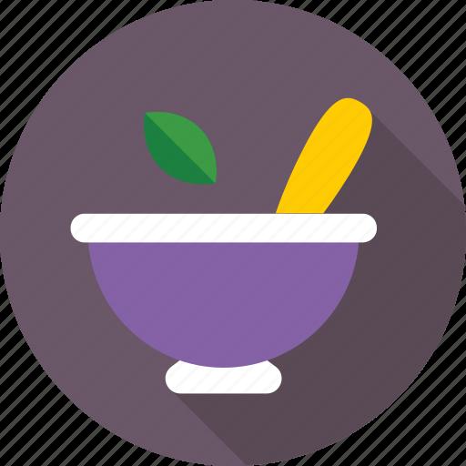 kitchen utensil, medicine bowl, mortar, pestle, pharmacy tool icon