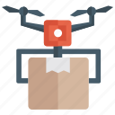 drone consignment, drone delivery, drone dispatch, drone parcel, shipment icon