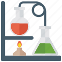 chemical reaction, chemistry experiment, chemistry practical, flame experiment, lab equipment, laboratory experiment icon