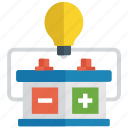 battery with bulb, chemistry experiment, electric energy, electricity power, physics experiment icon